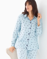 Soma Intimates Cotton Blend Pajama Top Pretty Bows Blue Crystal