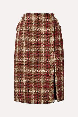 Versace Embellished Wool-blend Tweed Midi Skirt - Brown