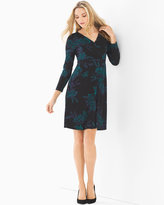 Soma Intimates Faux Wrap Surplice Dress Dazzling Floral Navy