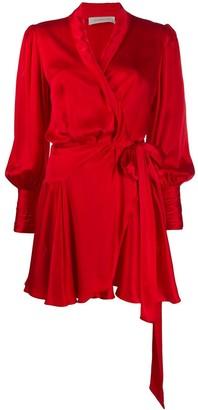 Zimmermann tie-fastening wrap mini dress
