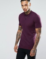 Asos Muscle Fit Knitted Polo in Burgundy Cotton