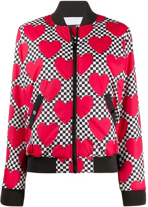 Love Moschino Checkerboard Heart-Print Bomber Jacket