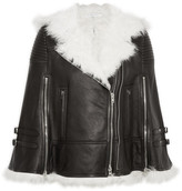 Givenchy White Shearling-trimmed Cape In Black Leather - FR36
