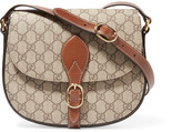 Gucci Linea A Leather-trimmed Coated-canvas Shoulder Bag - Beige