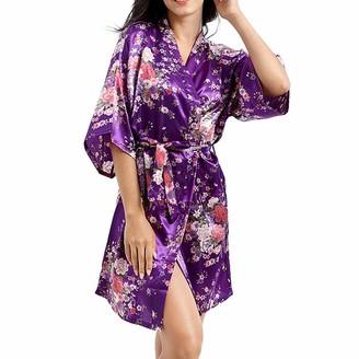 StarTreene Floral Print Satin Robes Nightwear Women's 3/4 Sleeve Short Kimono Pyjamas for Brides (Purple UK 16-18)