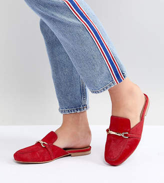 Asos Design DESIGN Movie Wide Fit Leather Mule Loafers-Red