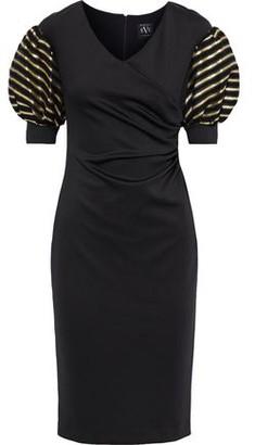 Black Halo Eve By Laurel Berman Elora Metallic Striped Organza-paneled Cady Dress