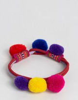 Reclaimed Vintage Bright Pom Pom Bracelet