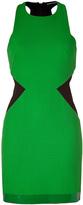 David Koma Green/Black Contrast Side Panel Dress with Leather Trim