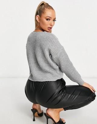 Parisian tie front slouchy jumper in grey