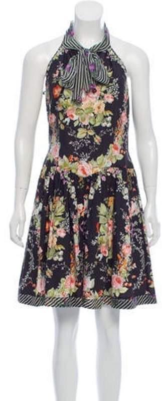 Anna Sui Floral Halter Dress Black Floral Halter Dress