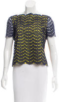 Carven Lace-Accented Short Sleeve Top