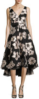 Lela Rose Metallic Floral Fil Coupé; High-Low Dress, Blush/Black