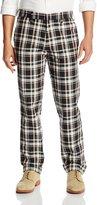 Haggar Men's Vintage Slim Fit Flat Front Plaid Pant