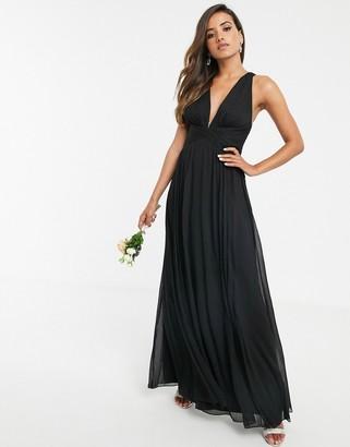Asos Design DESIGN Bridesmaid ruched bodice drape maxi dress with wrap waist-Black