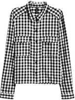 H&M Short Flannel Shirt - Red/plaid - Ladies