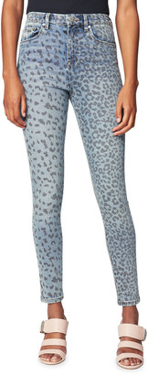 Blank NYC Scratched Animal-Print Denim jeans