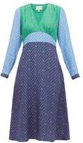 HVN Hoover Panelled Floral-print Silk Dress - Womens - Blue Multi