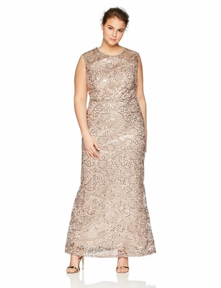 Ignite Women's Plus Size Sequined Lace Gown Dress