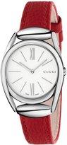 Gucci 30mm Horsebit Stainless Steel Watch w/ Red Calfskin Strap
