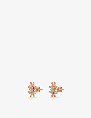 THE ALKEMISTRY Colette 18ct rose-fold and diamond starburst earrings