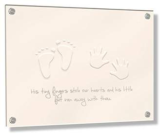Camilla And Marc Feel Good Art Wall Mounted 3D Acrylic Frame with Stand-Off Bolts (40 x 60 x 0.6 cm, Large, Beige/Neutrals, His Little Feet Stole Our Hearts)