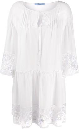 Blumarine embroidered trim shirt dress