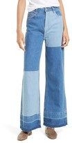 Free People Women's The Wideleg High Waist Patchwork Jeans