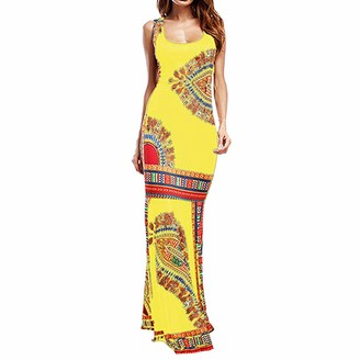kolila Women Summer Boho Maxi Dress Dress Casual Sleeveless Maxi Floral Print Long African Evening Cocktail Dress Cocktail Evening Party(Black M)