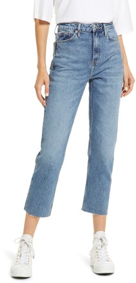 Raw Hem Crop Straight Leg Jeans