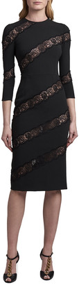 Dolce & Gabbana Crewneck Sheath Dress with Angled Lace Insets