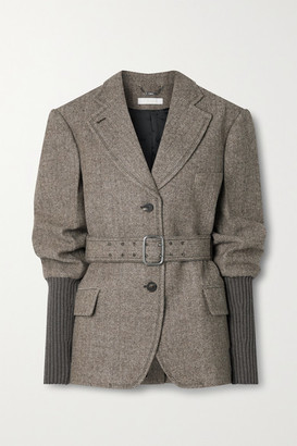 Chloé Belted Herringbone Wool And Ribbed-knit Blazer - Light brown