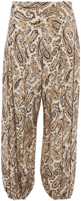 Nili Lotan Moscow Cropped Printed Silk Crepe De Chine Tapered Pants