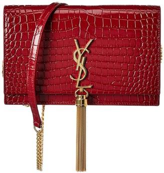 Saint Laurent Kate Tassel Croc-Embossed Leather Wallet On Chain