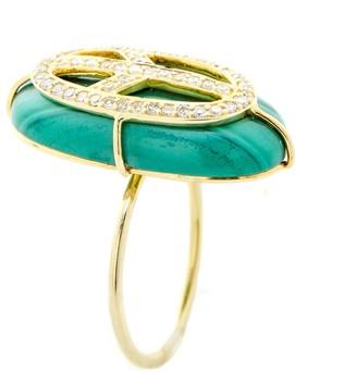 Nush Malachite Diamond Peace Ring
