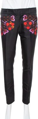 Gucci Black Cotton & Silk Floral Appliqued Pants S