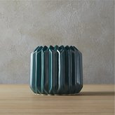 CB2 Accordion Teal Vase-Planter