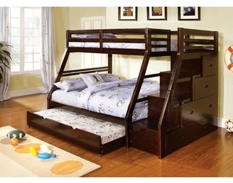 Furniture of America Haiden Twin Bunk Bed with Staircase Drawers, Dark Walnut