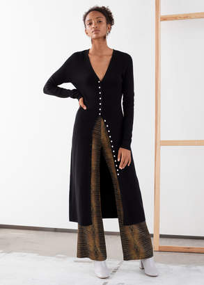 And other stories Ribbed Knit Button Up Midi Dress