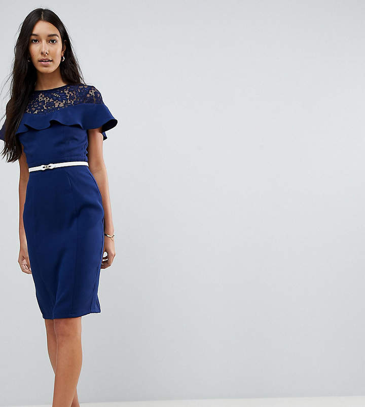 Paper Dolls Tall Lace Insert Pencil Dress With Frill Detail And Belt
