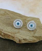 Mother of Pearl Kanishka Women's Earrings Silver - Mother-Of-Pearl & Cubic Zirconia Evil Eye Halo Stud Earrings