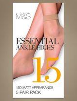 Marks and Spencer 5 Pair Pack 15 Denier Matt Ankle Highs