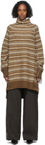 Thumbnail for your product : MM6 MAISON MARGIELA Brown Striped High Neck Sweater Dress