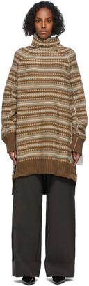 MM6 MAISON MARGIELA Brown Striped High Neck Sweater Dress