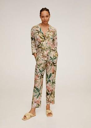 MANGO Tropical linen trousers beige - M - Women