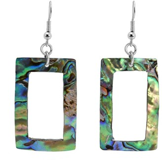 Aeravida Handmade Modern Chic Rectangular Frame Abalone Shell Dangle Earrings