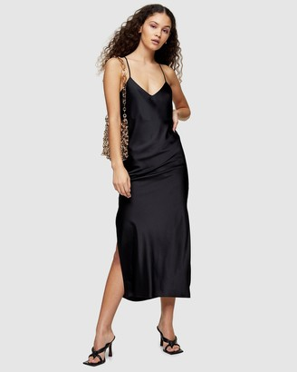 Topshop Cowl Back Satin Slip Dress