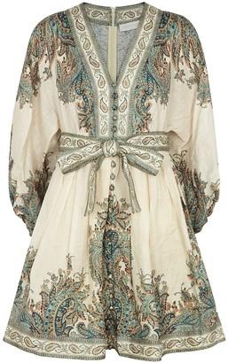 Zimmermann Brighton printed linen mini dress