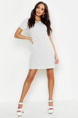 boohoo Jersey Pinspot Crew Neck Shift Dress