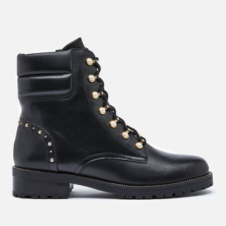 Dune Women's Pearlise Leather Lace Up Boots - Black